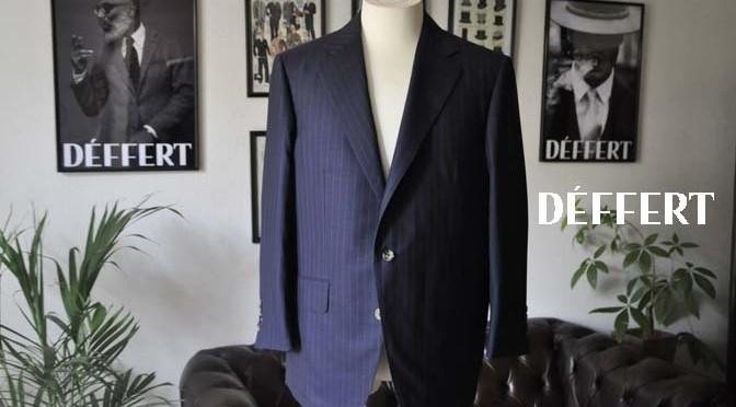 お客様のスーツの紹介-御幸毛織 SHALICK ネイビーストライプ-