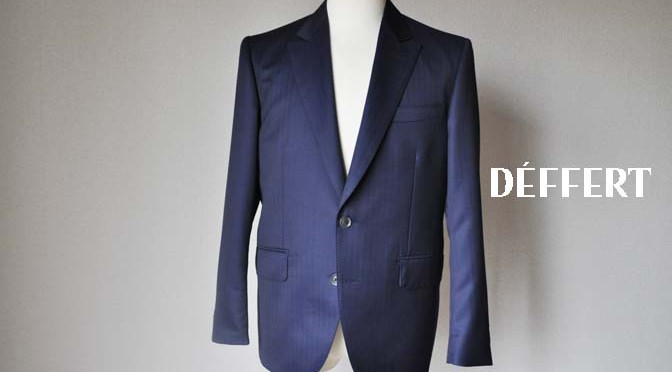 お客様のスーツの紹介-御幸毛織 ネイビーヘリンボーン-