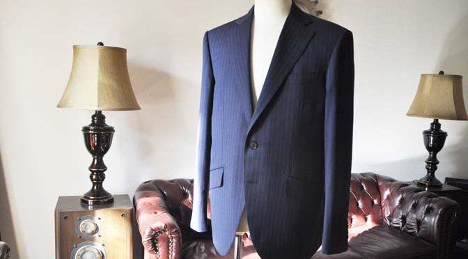お客様のスーツの紹介-Biellesi ネイビーストライプスーツ-