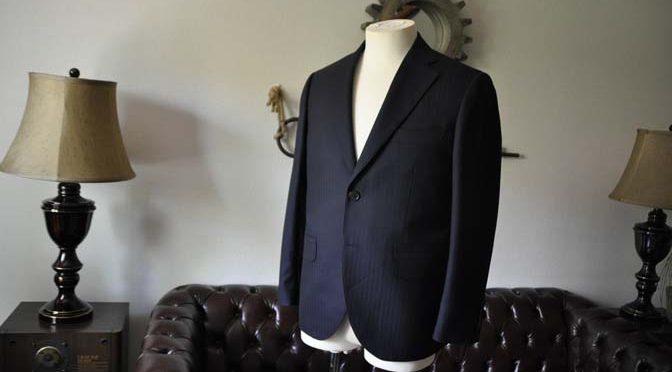 お客様のスーツの紹介-ネイビーヘリンボーン-
