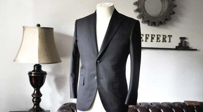 お客様のスーツの紹介-ブラックヘリンボーンスーツ-