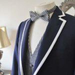 お客様のウエディング衣装の紹介- ネイビーパイピングジャケット、ギンガムチェックベスト-