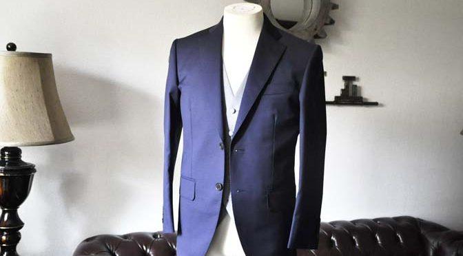 お客様のウエディング衣装の紹介-Biellesi ネイビースーツ グレーグレンチェックベスト-