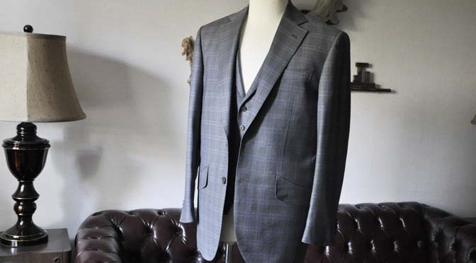 お客様のスーツの紹介- Loro Piana グレーチェックスリーピース-
