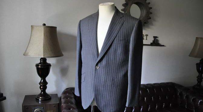 お客様のスーツの紹介- DARROW DALE グレーストライプスーツ-