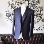 お客様のスーツの紹介-Biellesiネイビーヘリンボーン  スリーピーススーツ-