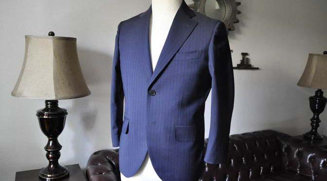 お客様のスーツの紹介- Biellesi ネイビーストライプ-