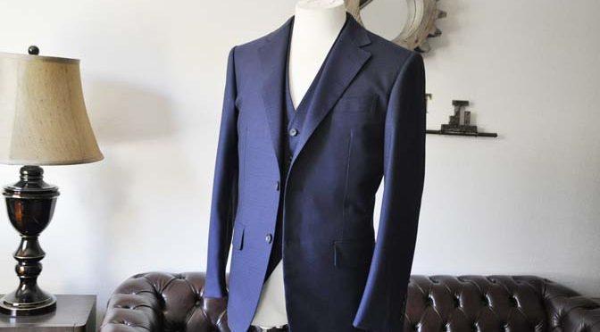 お客様のスーツの紹介-ネイビーチェックスリーピース-