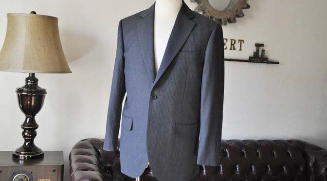 お客様のスーツの紹介-Biellesiグレーヘリンボーンスーツ-