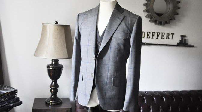 お客様のウエディング衣装の紹介-Biellesi グレンチェックジャケット バーズアイベスト・パンツ-
