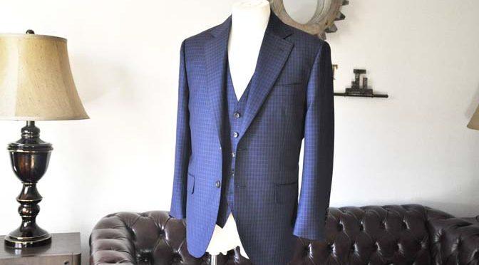 お客様のスーツの紹介-CANONICOネイビーチェック スリーピース-