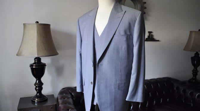 お客様のスーツの紹介- Biellesi ネイビ千鳥格子スリーピース-