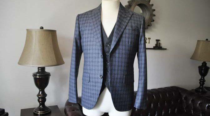 お客様のウエディング衣装の紹介-CANONICO ネイビーフランネルチェック グレーフランネルベスト-