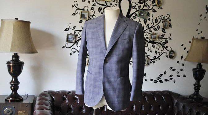 お客様のジャケットの紹介-Biellesiグレーチェックジャケット-