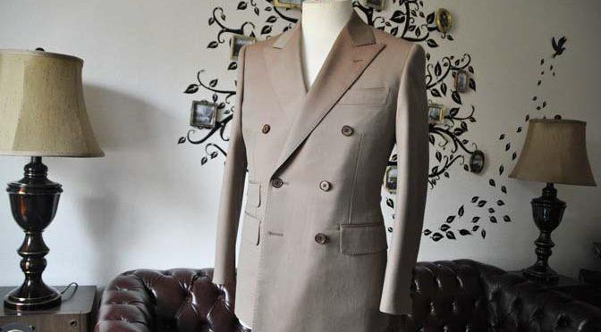 お客様のスーツの紹介-SCABAL GOLDEN RIBBONブラウンソラーロダブルスーツ-