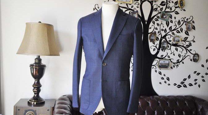 お客様のスーツの紹介-DARROW DALEネイビーチェック フランネルスーツ-
