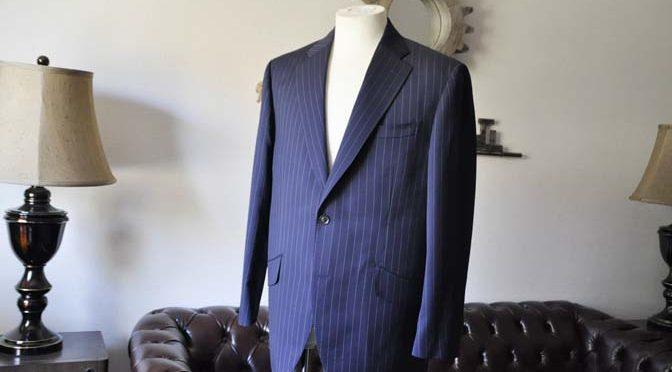 お客様のスーツの紹介- Biellesi ネイビーストライプスーツ-