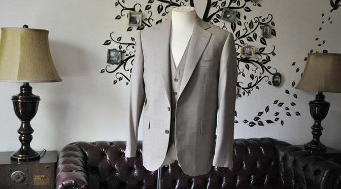 お客様のスーツの紹介-REDA ライトブラウンスリーピース-