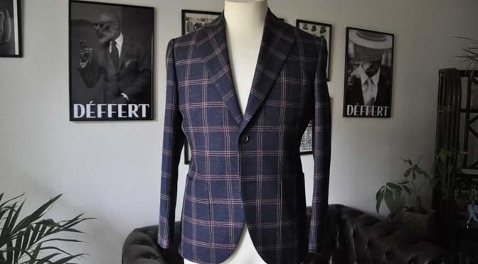 お客様のスーツの紹介-御幸毛織 ネイビーリネンチェック-