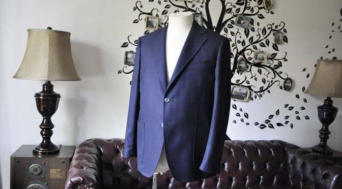 お客様のジャケットの紹介-CANONICOネイビーホップサック アンコンジャケット-