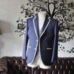 お客様のウエディング衣装の紹介- Biellesi無地ネイビーパイピングジャケット チェックベスト-