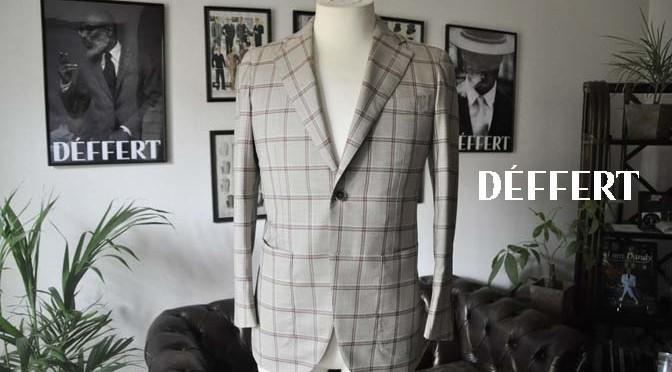 お客様のジャケットの紹介-TALLIA DI DELFINO ベージュ/レッドウィンドペン-