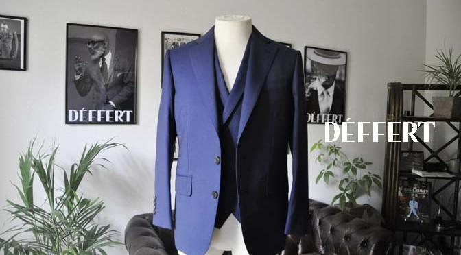 お客様のスーツの紹介-Biellesi ネイビーヘリンボーン スリーピース-